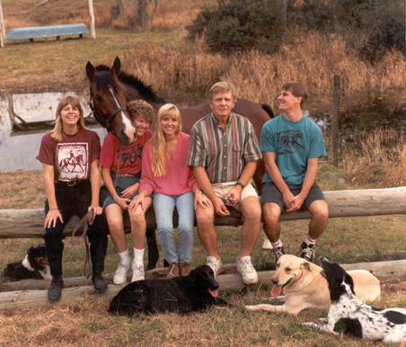 Meet the Brinkman Family!             ~1995     (left-rightShannon, Jean, Erin, Roy & Jason.  Martini stands in back with dogs Maggie, and Vamp, Brink and Killerin foreground.)