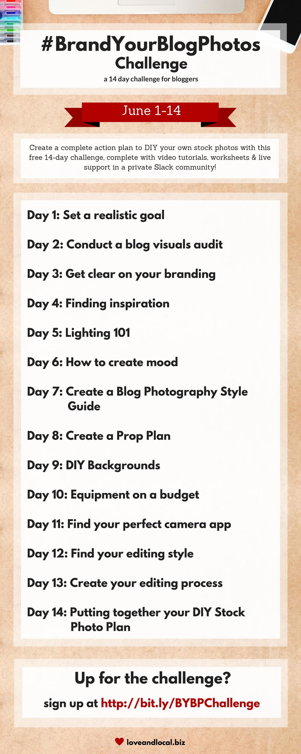 Create an action plan to DIY your own stock photos with this FREE 14 day branding & photography challenge for bloggers! via @loveandlocalbiz | loveandlocal.biz