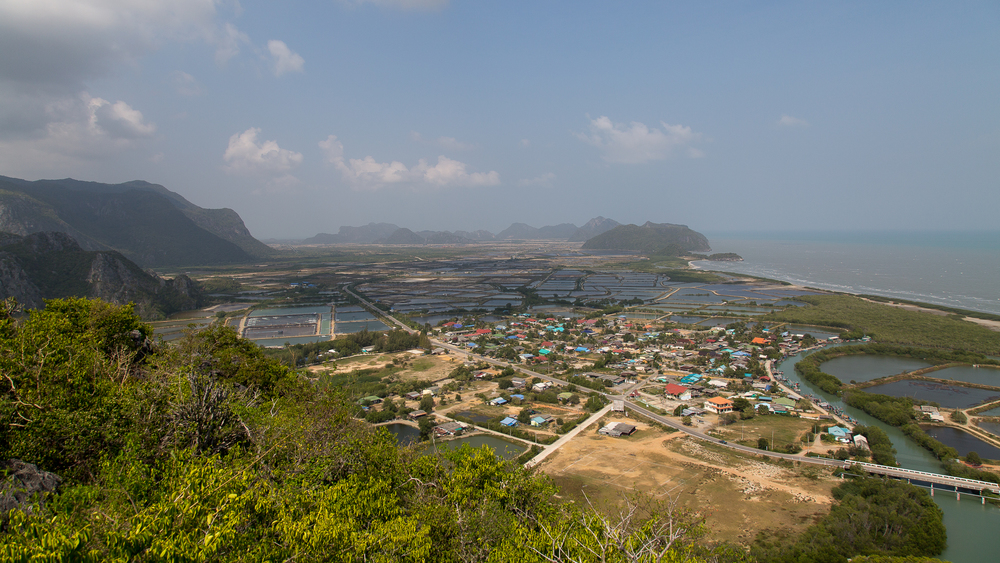 The view from Khao Daeng (Red Mountain) viewpoint in Khao Sam Roi Yot National Park.