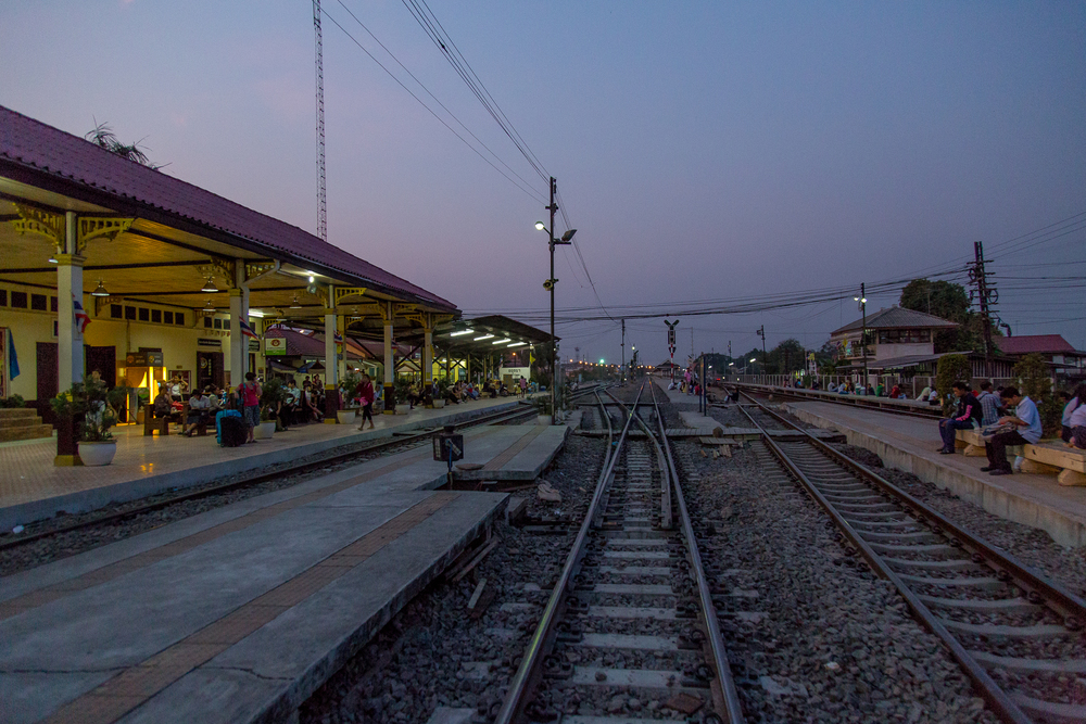 At the train station in Ayutthaya ready to head back to Bangkok.