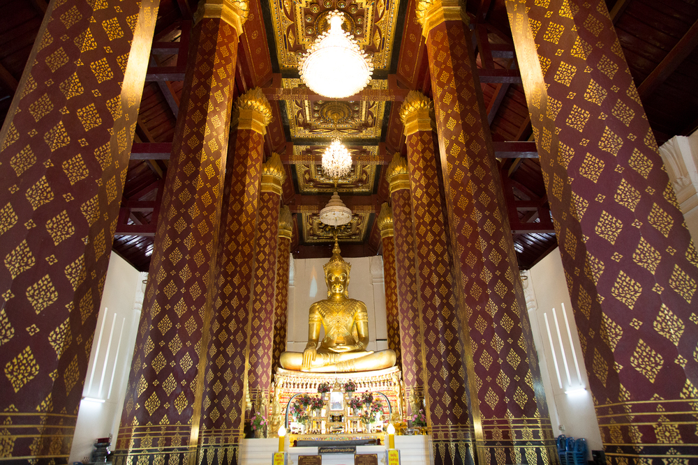 The gold statue of Buddha sits inside Wiharn Phra Mongkhon Bophit.