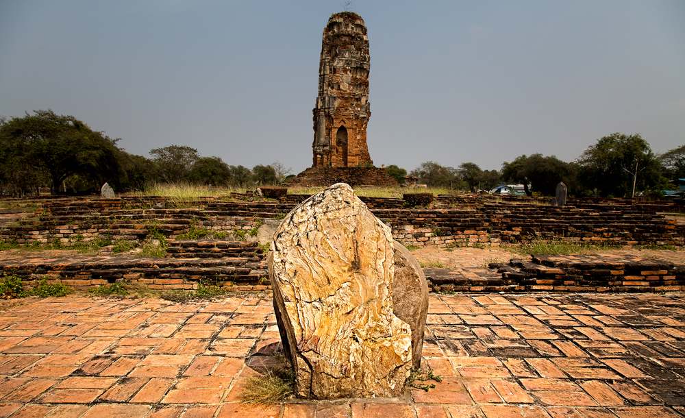 This marker is known as a bai sema. They are used to designate the boundary around sacred spaces at Buddist temples.
