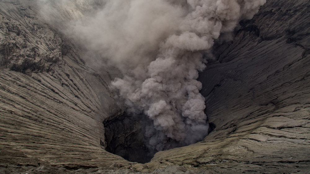 A closeup of Bromo's crater. While I there, I could hear the loud roar of the volcano, which one can hear for over ten kilometers away. It's amazingly powerful, and somewhat scary.