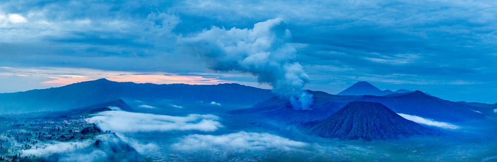 A panorama view of Mount Bromo and Cemorolawang, the village on the caldera's edge.