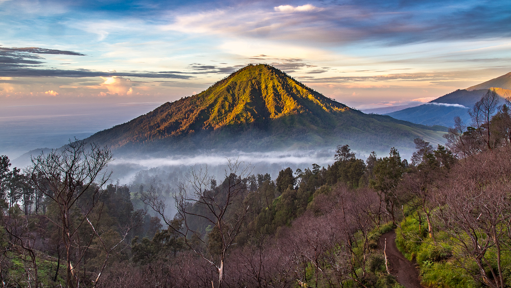 The view from Ijen at sunrise.