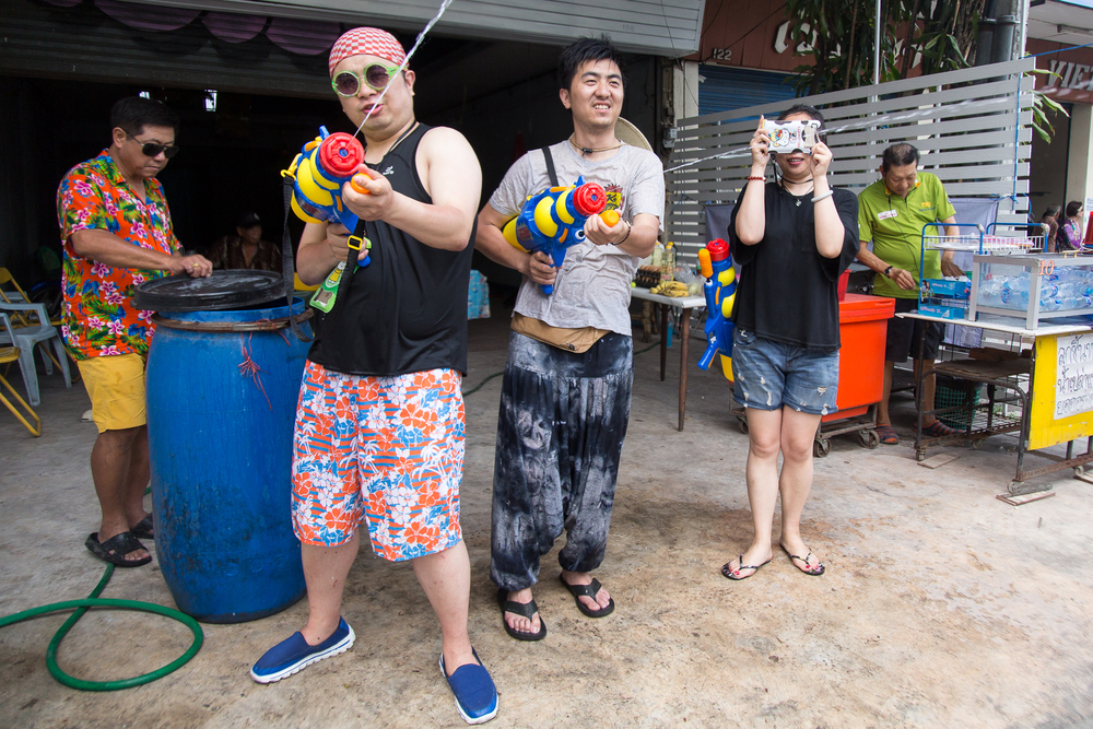 Squirt guns were a popular wepon of choice during the festival.