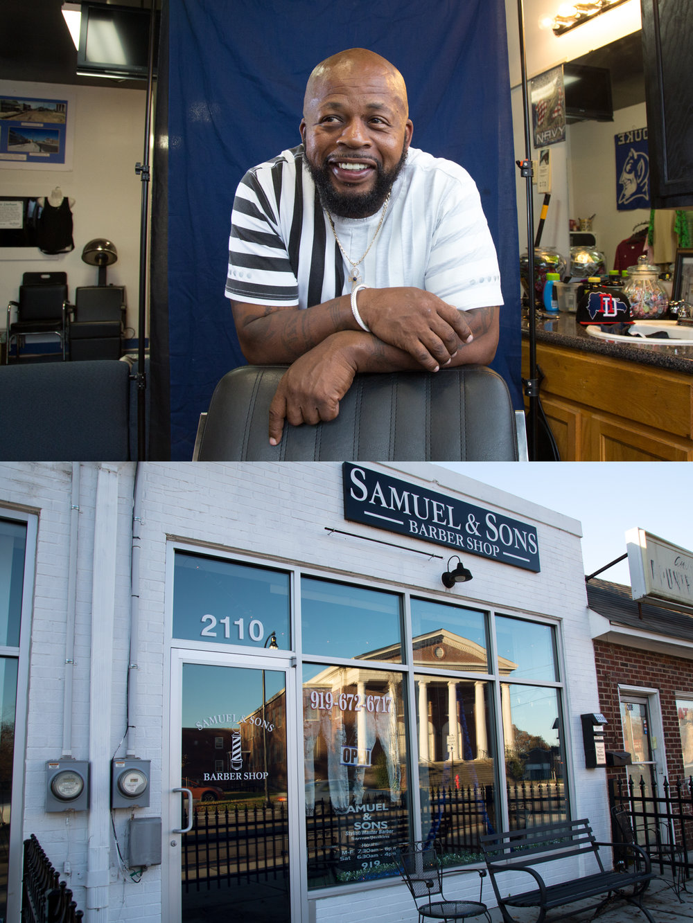 Samuel Jenkins Poses for a portrait in his barbershop above. The windows of his shop reflect early morning light below.