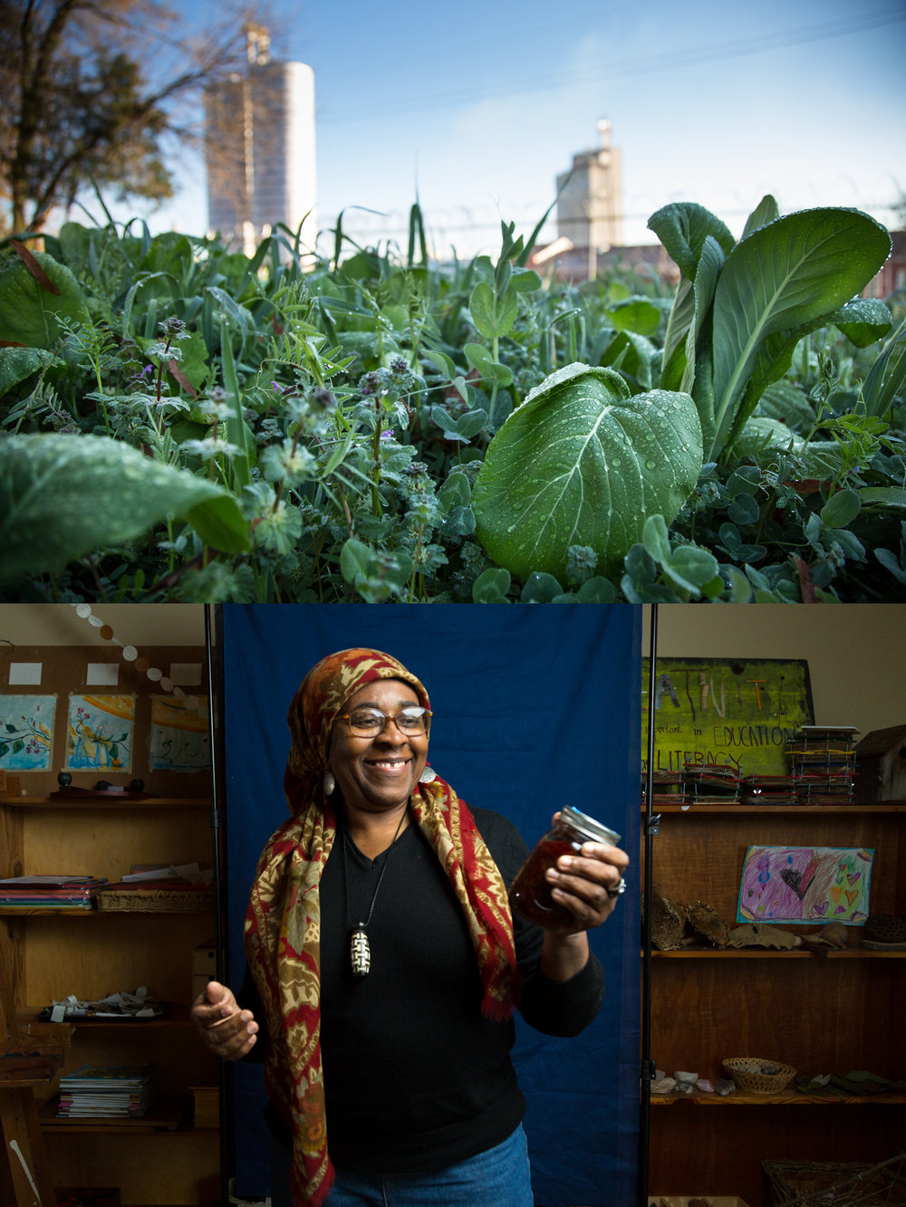 Kareemah Abdusamad poses for a portrait at SEEDS Community Garden below. Natural treasures and children's drawings cover the shelves behind her. Above, dew forms on plants in the garden at sunrise.