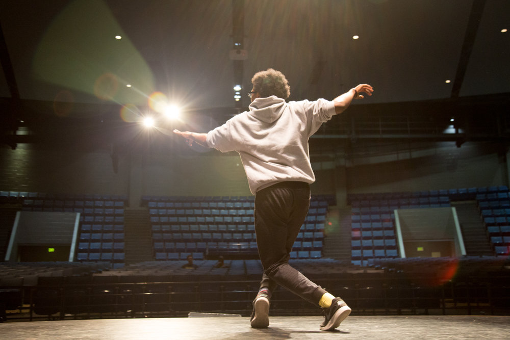 "Jordan Jarmon, a 12th-grade student at Hillside High School, dances on stage during rehearsal for ""The Wiz,"" which is Theatre Director Wendell Tabb's favorite musical production."