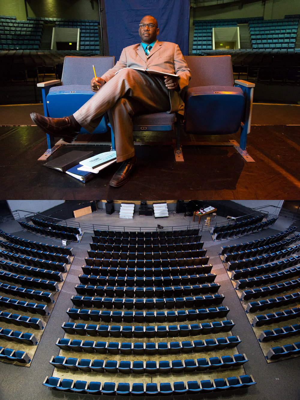 Wendell Tabb, Theatre Director at Hillside High School, poses for a portrait on Hillside's stage above. Below, the seats of the theater in which Tabb does his work.