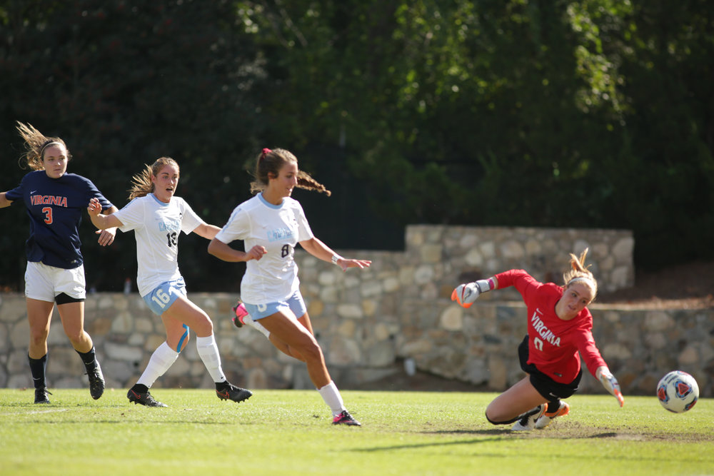 Abby Elinsky scores a goal during a home game against Virginia Tech University.