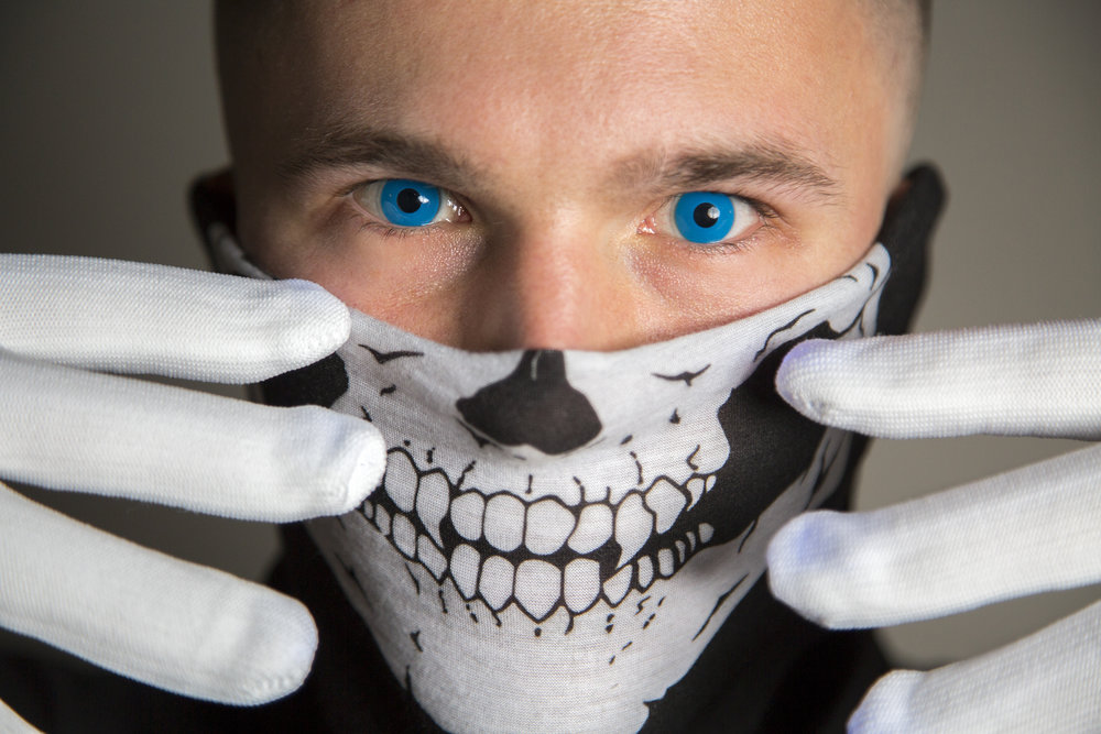 Jack Turner, UNC-Chapel Hill student, poses for a portrait while wearing cobalt blue contact lenses on Halloween night in Chapel Hill Tuesday, Oct. 31, 2017.