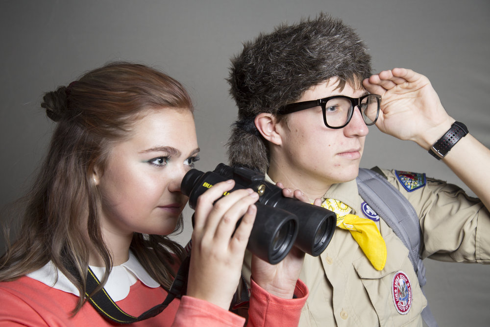 Ella Gilliam (left) and Cameron Champion (right) pose for a portrait while dressed as the two protagonists from Moonrise Kingdom on Halloween night Tuesday, Oct. 31, 2017, in Chapel Hill.