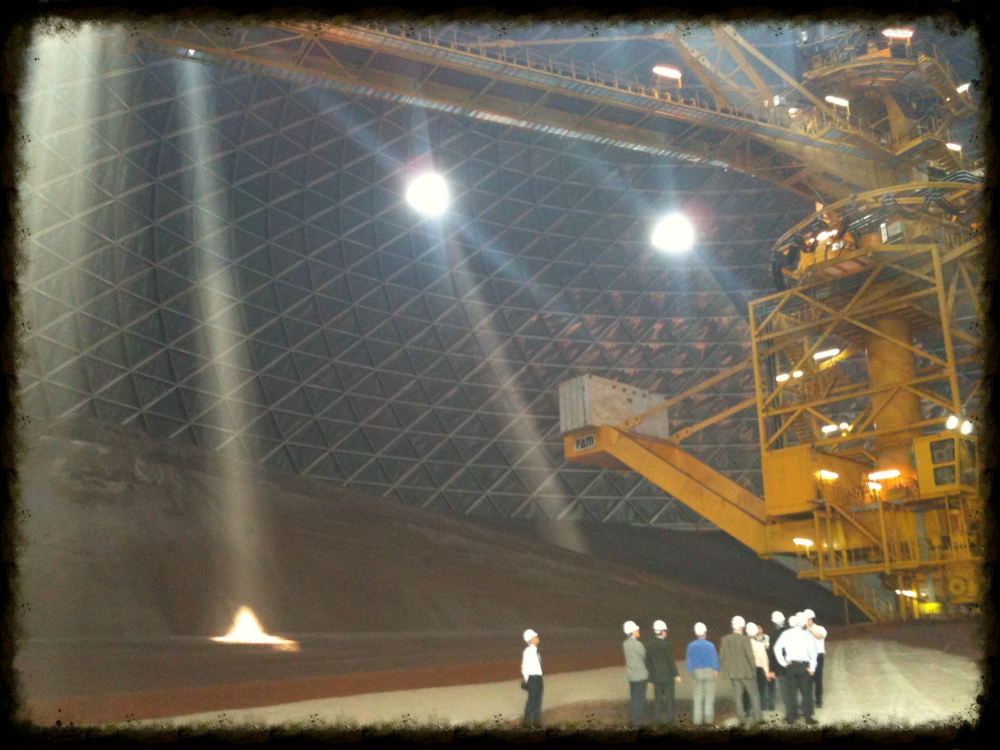Few things demonstrate the massive scale of Hyundai Motor as well as the iron ore storage domes at Hyundai Steel, seen here. The plant has several domes, each big enough to contain a Major League Baseball field. This was a showstopper on our journalists' tours.