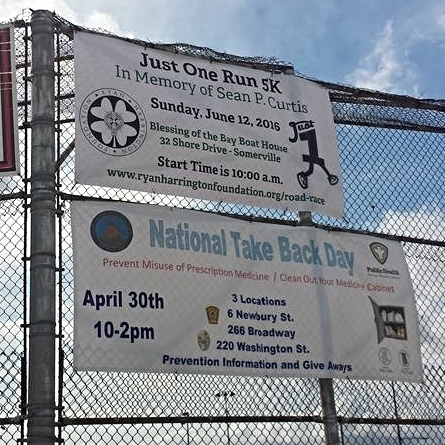 5k banner hanging up at Trum Park.