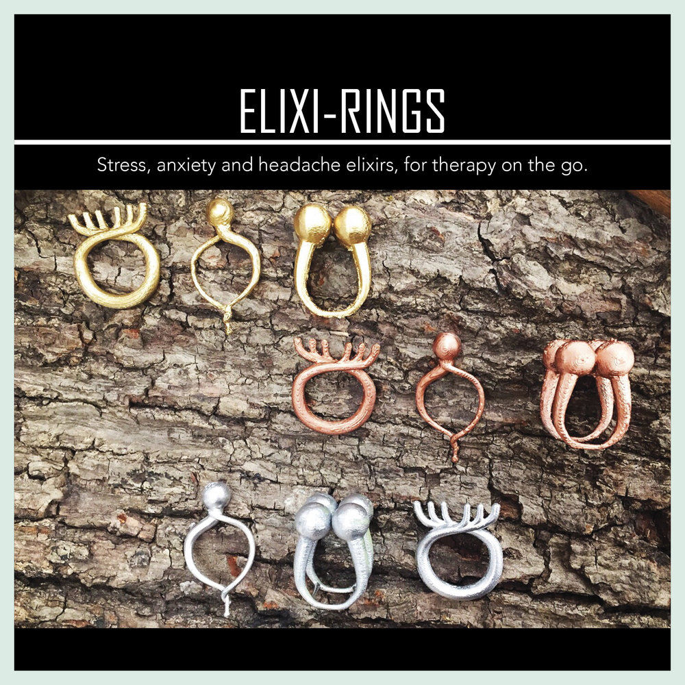 Elixi Rings - Jewelry designed as on-the-go solutions for stress, anxiety and headache