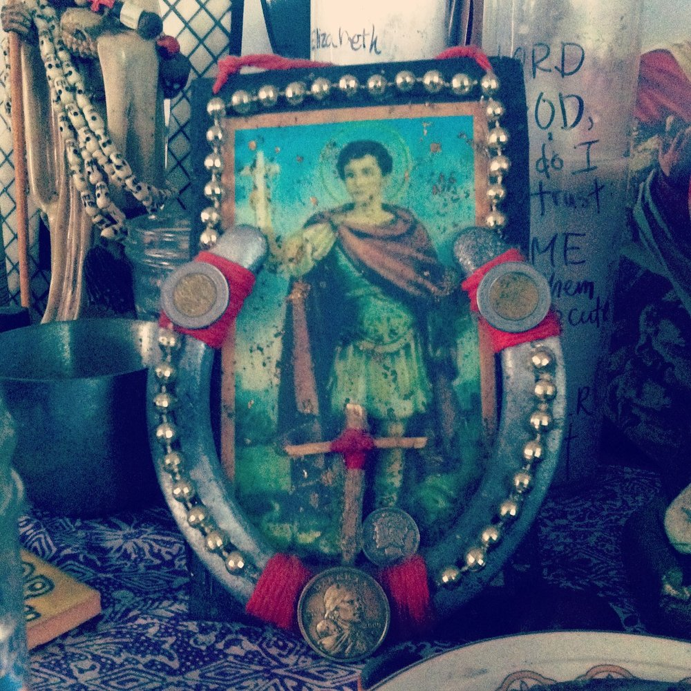 St. Expedite plaque handmade by Papa Toad Bone