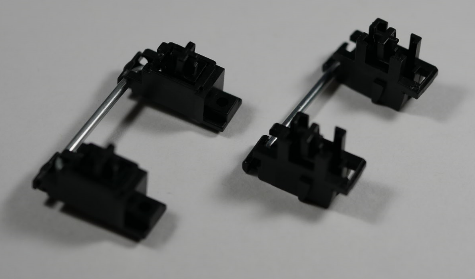 PCB-mounted stabilizer (left) and Plate-mounted stabilizer (right)