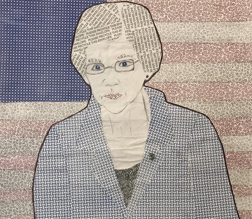 "Elizabeth Warren Security Envelopes and Ink 6"" x 6"" 2017"