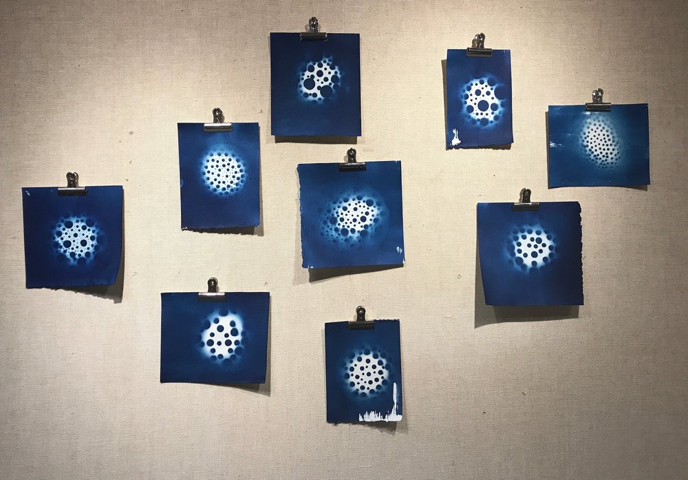 sun + earth Installation of Ceramics and Cyanotypes 8' x 15' 2017