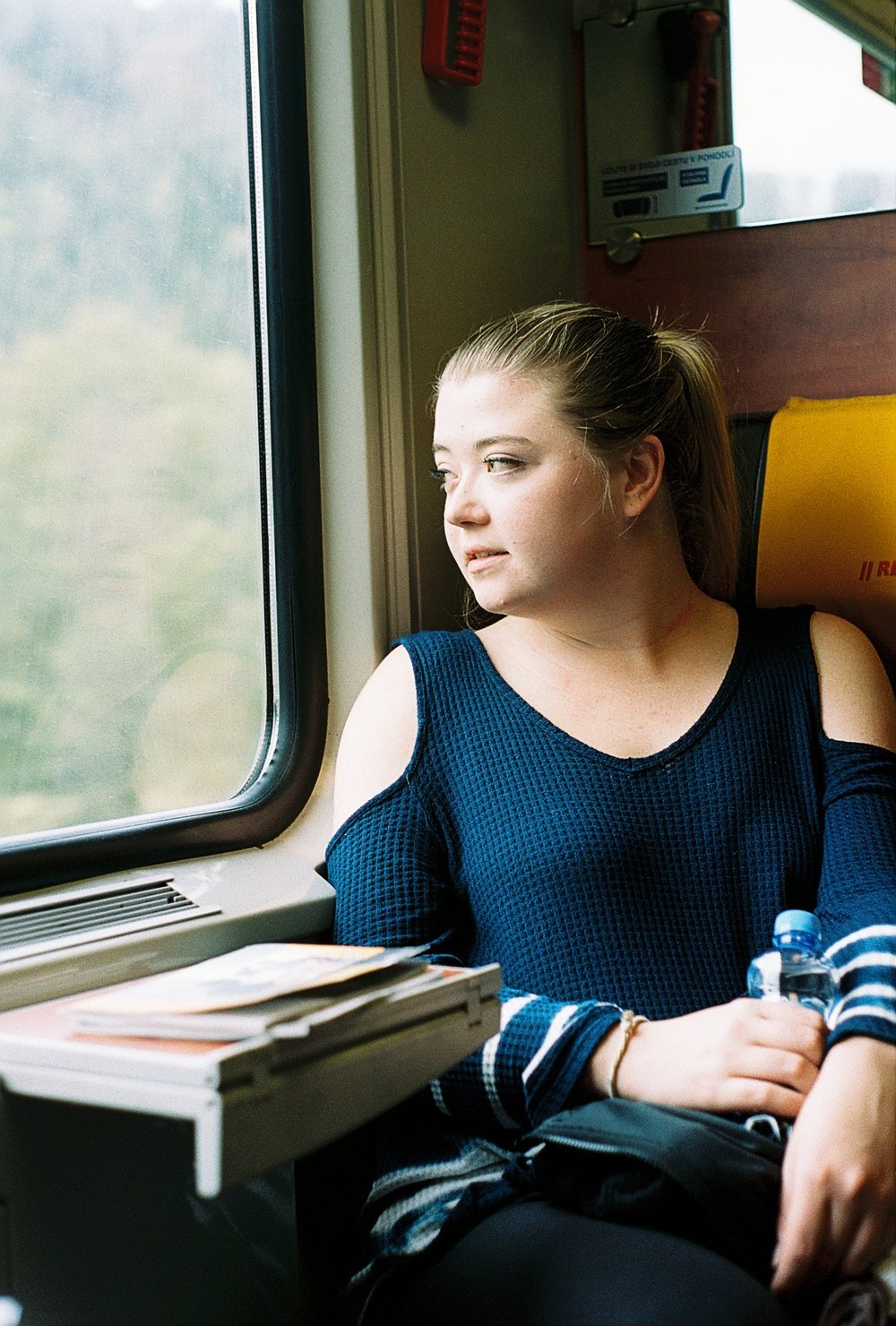 Amanda Daily on the RegioJet train to Ostrava, Czech Republic.