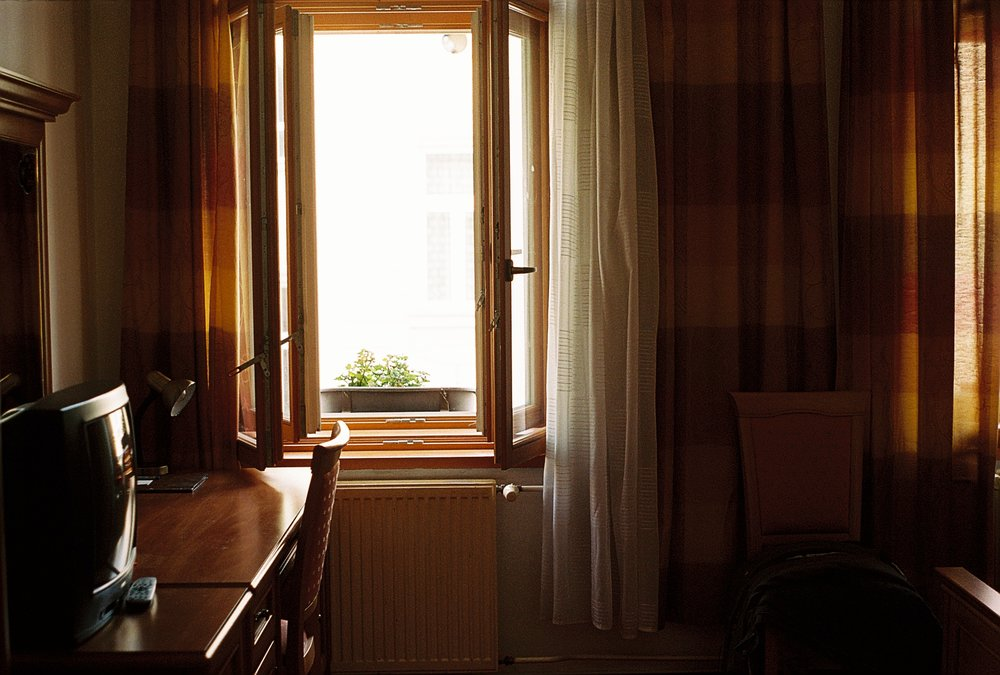 Hotel window in Ostrava.