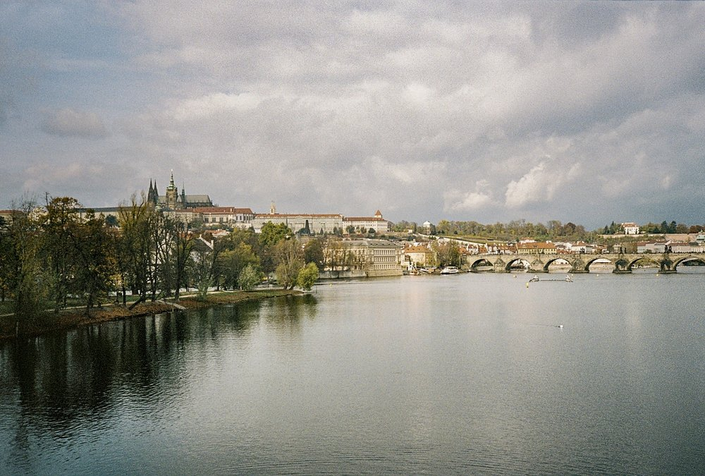 View of the Vltava river from the Legion Bridge.