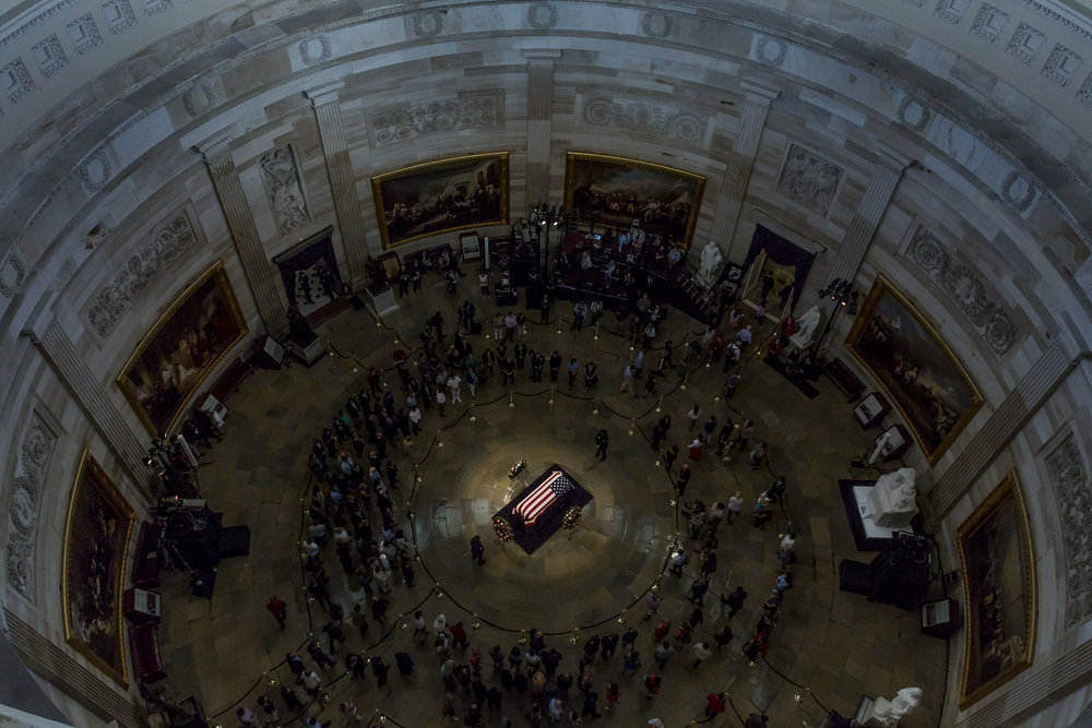 The late Senator John McCain lies in state in the rotunda of the U.S. Capitol on August 31st, 2018
