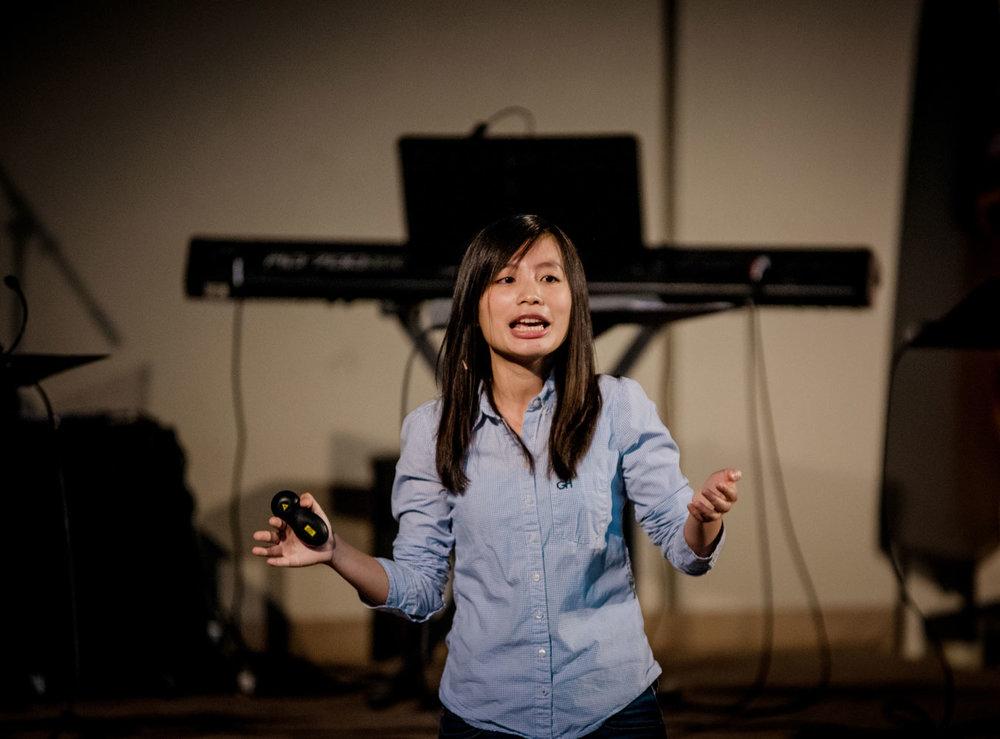 Sister Kitty Yang giving sermon