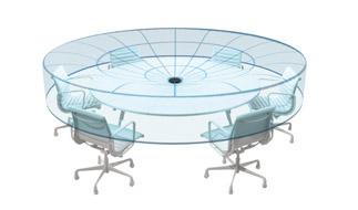 Exklusive Toroid-Charakteristik  Optimiert die Stimmen aller Konferenzteilnehmer (sitzend oder stehend) und blendet etwaige Störgeräusche von oben, z. B. von Projektoren, wirkungsvoll aus.