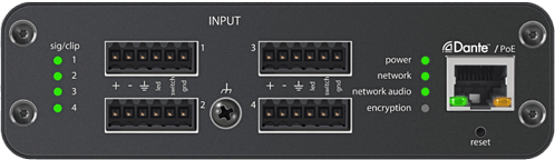 ANI: Inputs  4-Channel Dante™ Mic/Line Audio Network Interface with XLR or Block Inputs