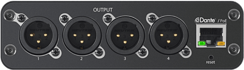 ANI: Outputs   4-Channel Dante™ Mic/Line Audio Network Interface with XLR or Block Outputs