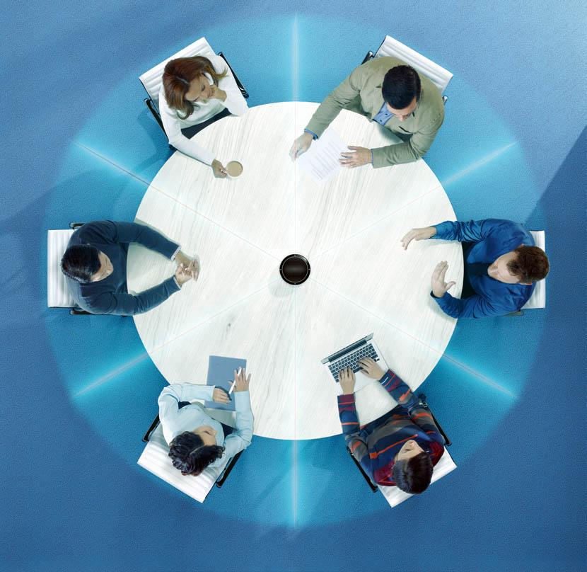 Utilizzo L'array da tavolo è la soluzione ideale per le meeting room dove il numero di partecipanti può variare e dove il tavolo è solitamente sgombro. L'immagine sopra mostra MXA310 che cattura l'audio di sei partecipanti in 6 aree distinte di ripresa, grazie a tre microfoni configurati con diagramma polore bi-direzionale. Da notare che questo è solo uno degli scenari di applicazione fra i molti che possono essere realizzati utilizzando fino a quattro canali.
