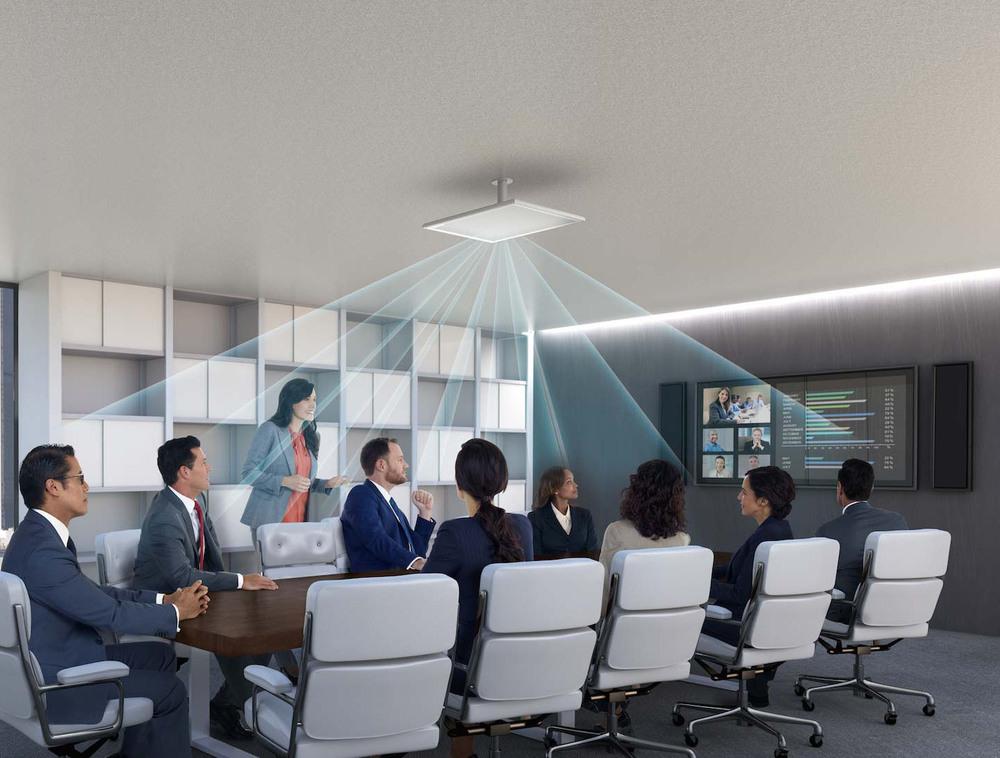 Perfil de aplicación   Un array de techo es ideal para salas de reuniones formales en las que se prefiere no tener micrófonos visibles sobre la superficie de trabajo. Este micrófono se configura para captar siete áreas de escucha discretas, con cobertura para una reunión con 11 asientos. En condiciones normales, a una altura aproximada de 3 metros, con oradores sentados, el diámetro de cobertura recomendado es aproximadamente de 9 metros..