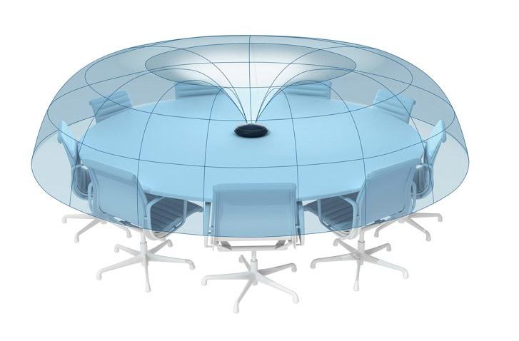 Directivité toroïdale exclusive Optimise les voix des participants, qu'ils soient assis ou debout, et atténue les sons parasites provenant du plafond comme les vidéoprojecteurs.