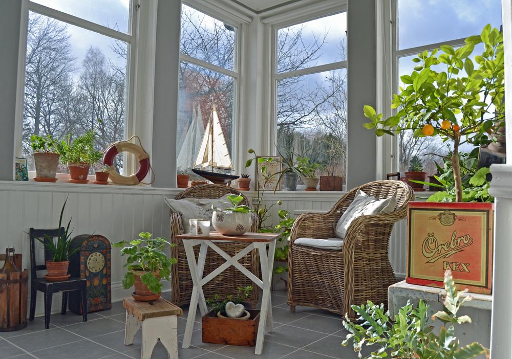 Avkopplingsdelen med rottingstolar och ett överflöd av blommor och växter som liksom vi, väntar på våren...