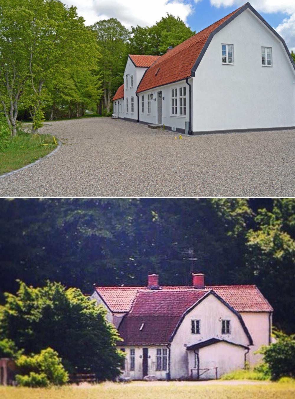 Vår infart till huset ligger på västergaveln. Här fanns en liten tillbyggnad som vi rev - den var tillbyggd, förmodligen på 30-40-talet och den passade inte riktigt på huset...