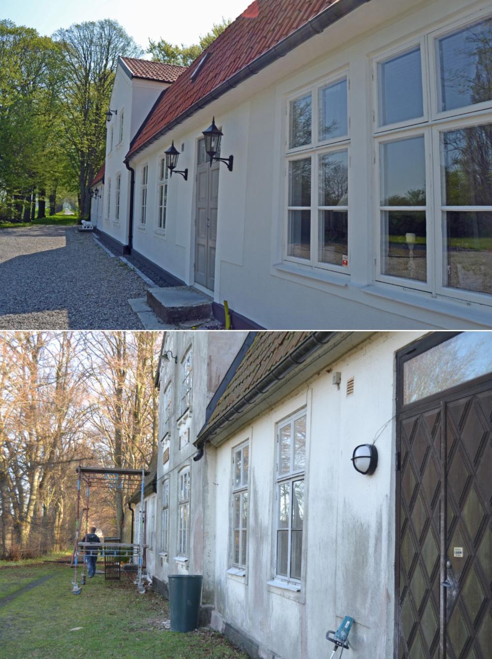 Närbild på fasaden. Vi har fått specialtillverkade ytterdörrar, som är identiska med originaldörrarna som det fanns en av (inte den närmst i bild;-)).