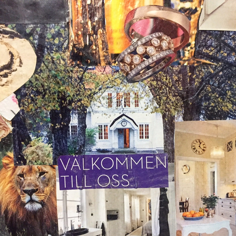 Här ser ni delar av tavlan där bilden i mitten symboliserar Fredriksberg. En pampig fasa, kritvit, med många fönster... och en fasadklocka;-). Precis som Fredriksberg!