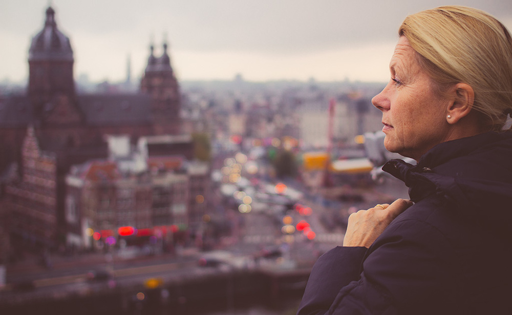 Mom watching the Amsterdam skyline.