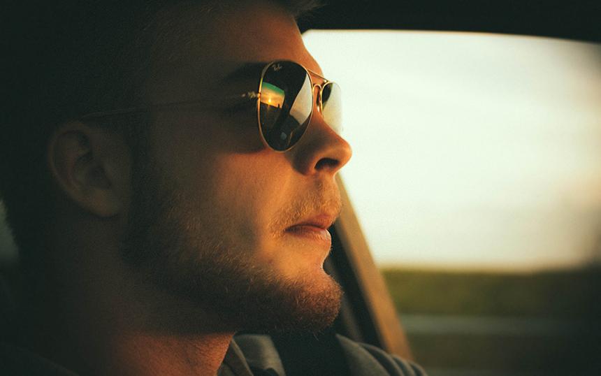 Jonathan driving towards Malmo.