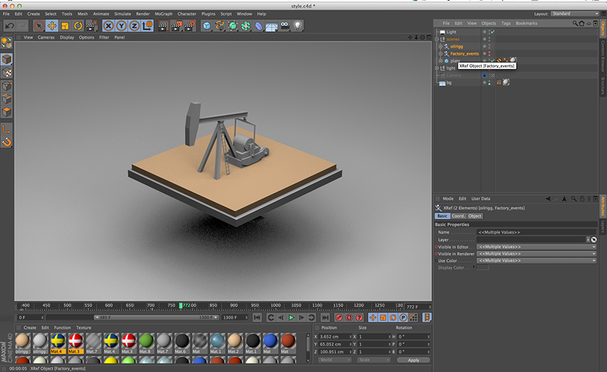First time using XRef, really handy when it comes to put c4d files together.