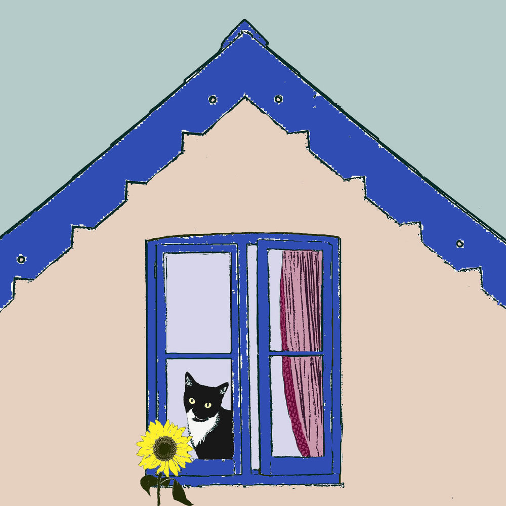 Cat with Sunflower