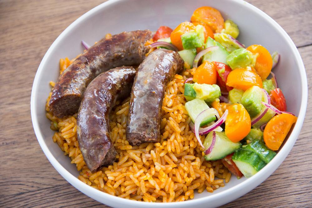 jollof with boerewors sausage