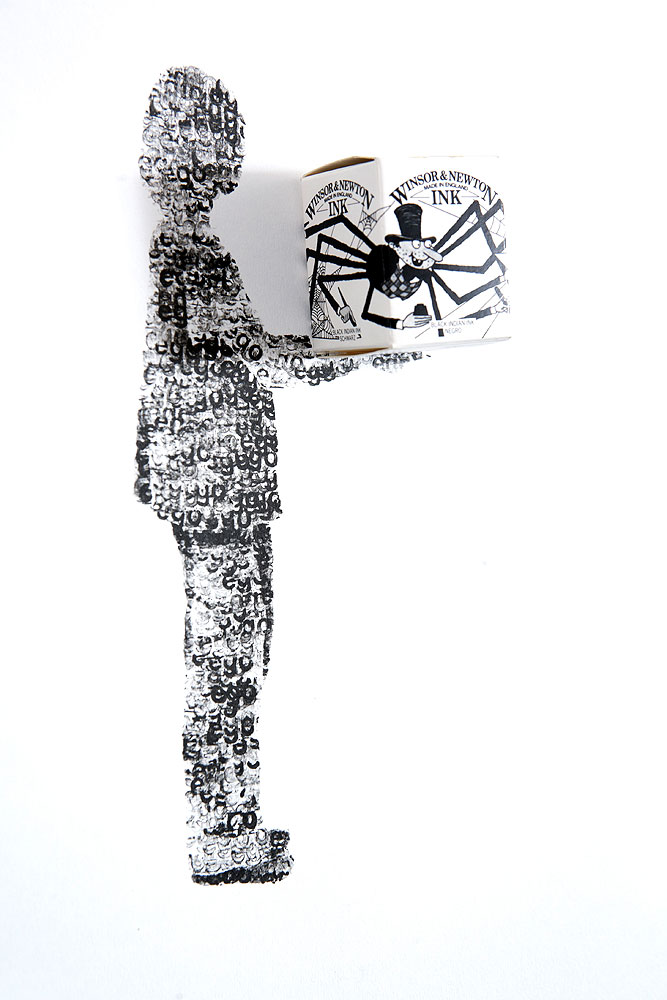 Usha Seejarim , Defining the self; Black, Indian or Negro 1  (2009), Ink on Fabriano by stamp with Windsor & Newton ink box, 600 x 1220 mm