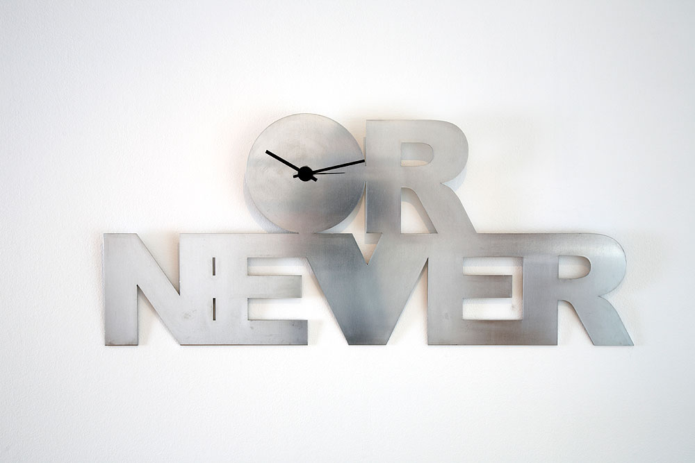 Now or Never   (2009) - aluminium clock - 45cm x 104cm