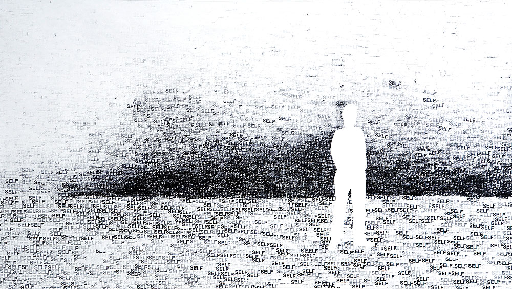 Me in my world  (2009) - drawing: ink on paper (by stamp) - 139cm x 78cm