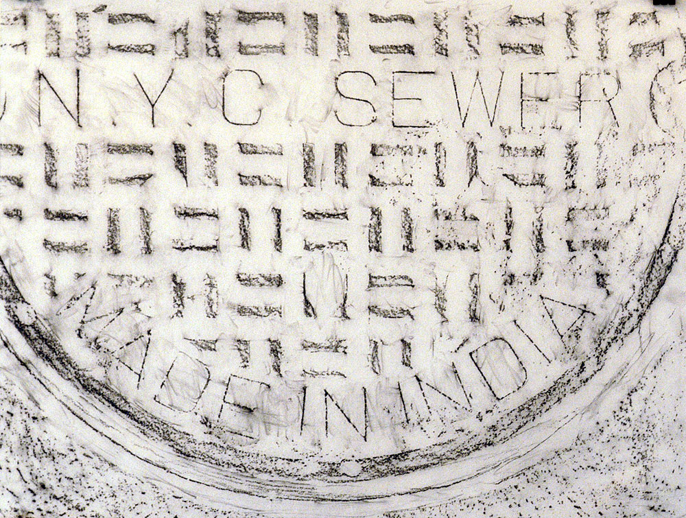 Tracing time (2003), Graphite rubbing on tracing paper - made in the New York subway. Series of 39 rubbings.