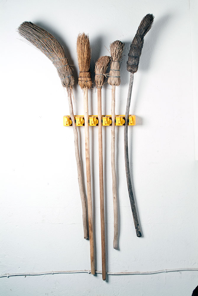 Usha Seejarim,  Family  (2012), Mixed media installation with grass brooms, 450 x 100 x 1360 mm