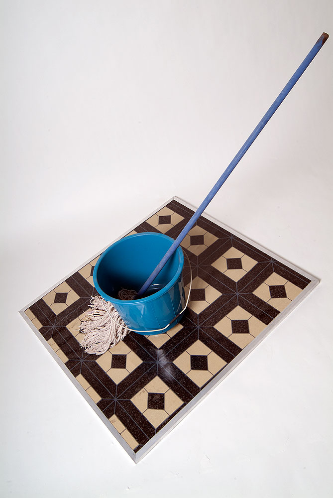 Usha Seejarim , Dysfunctional relationship  (2012), Sculpture with bucket and mop, 330 x 400 x 890 mm